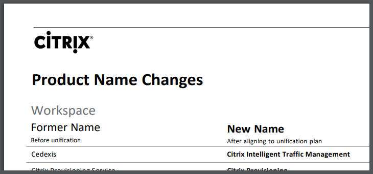 Citrix Name Changes