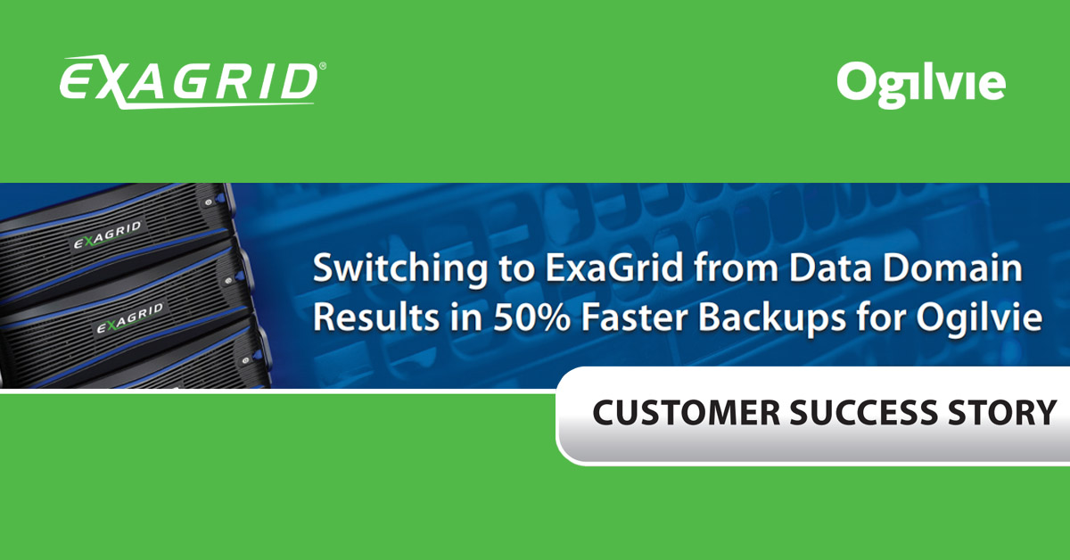 Å bytte til ExaGrid ga 50 % raskere backup for Ogilvie